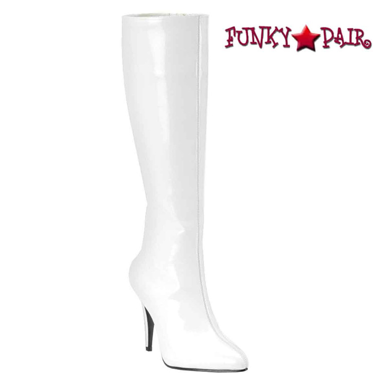 White Lust-2000, Knee High Heel Boots | Funtasma