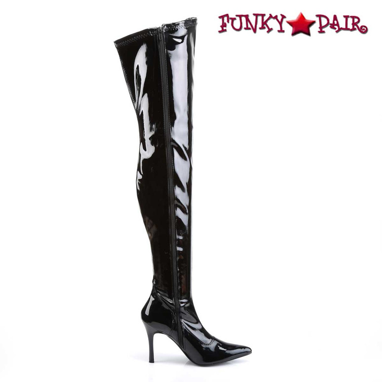 Zipper Side View Lust-3000, Stretch Thigh High Boots | Pleaser
