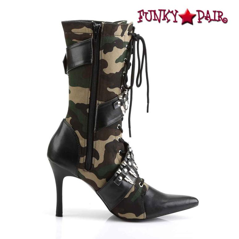 Funtasma | MILITANT-128, High Heel Bullets Military Boot Zipper Side View