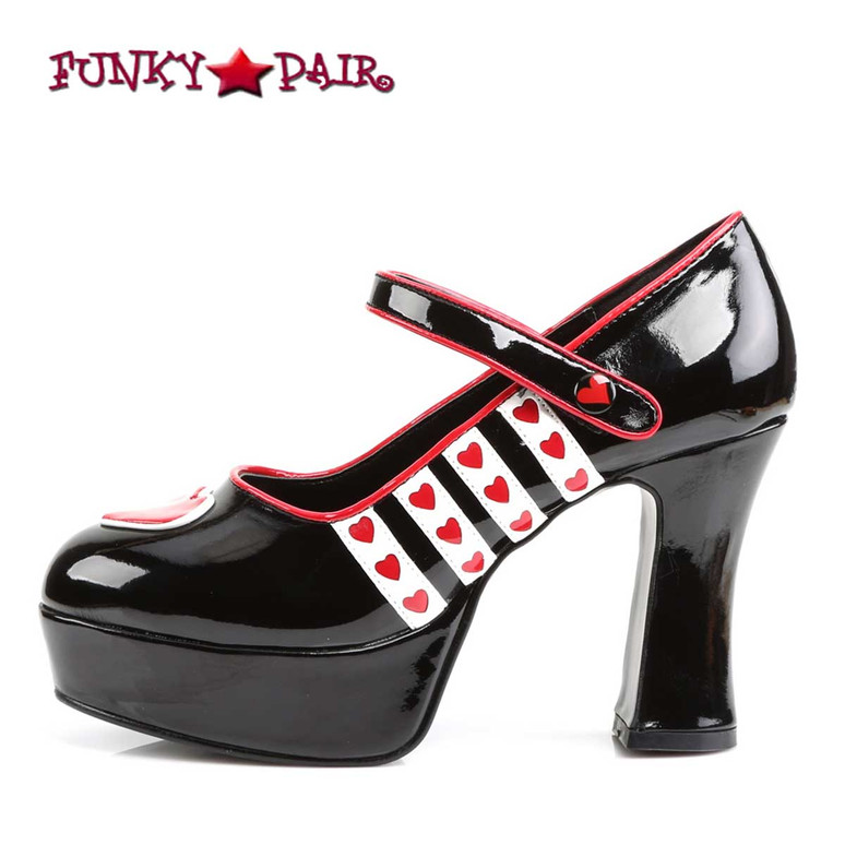Funtasma | QUEEN-55, Side View Queen of Hearts Platform Costume Shoes