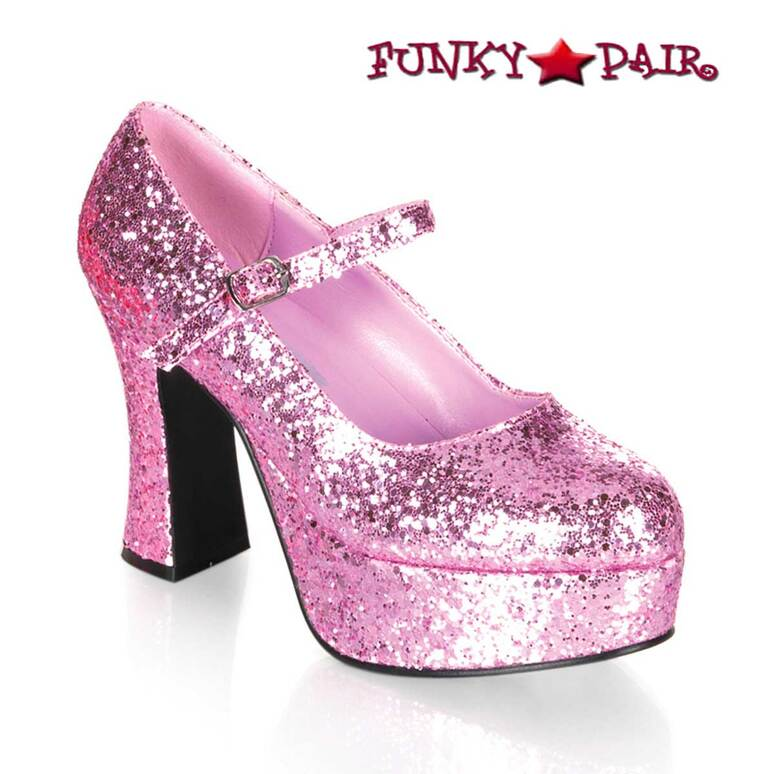 "MARYJANE-50G, 4"" Baby Pink Glitters Mary Jane Pump by Funtasma"
