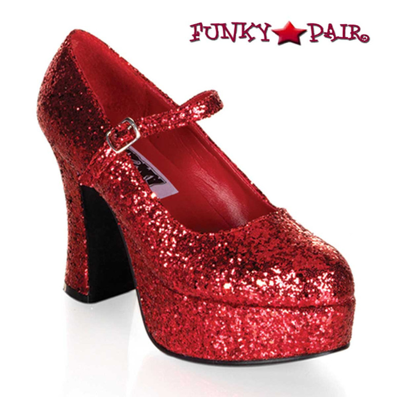 "MARYJANE-50G, 4"" Red Glitters Mary Jane Pump by Funtasma"