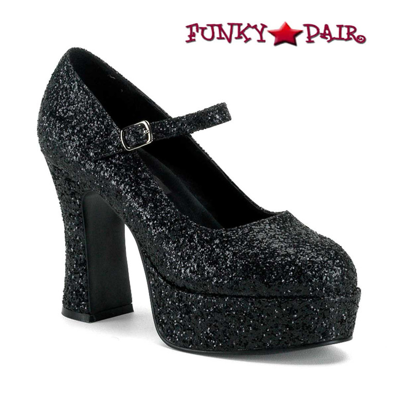 "MARYJANE-50G, 4"" Black Glitters Mary Jane Pump by Funtasma"