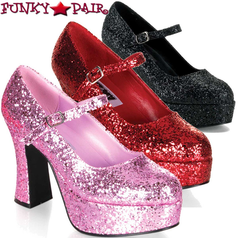 "Funtasma MARYJANE-50G, 4"" Glitters Mary Jane Pump by Pleaser USA"