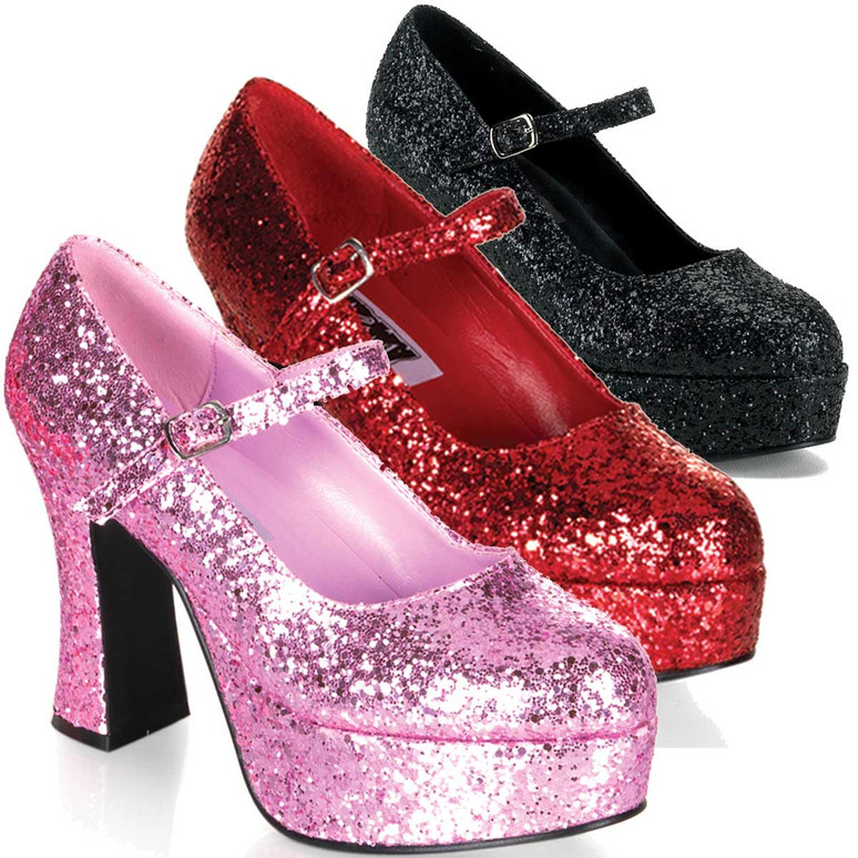 "MARYJANE-50G, 4"" Glitters Mary Jane Pump by Funtasma"