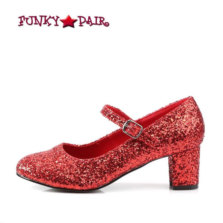 Women's SCHOOLGIRL-50G, Side View Glitters Costume Shoes | Funtasma