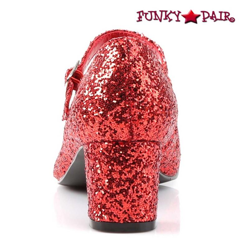 SCHOOLGIRL-50G, Cosplay Back View Glitters Costume Shoes | Funtasma