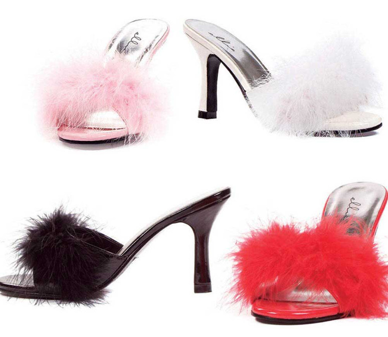 "3.5"" Fur Marabou Slipper  Ellie Shoes 