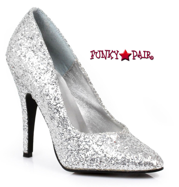 511-Glitter, 5 Inch High Heel Silver Glitter Shoes Made by ELLIE Shoes