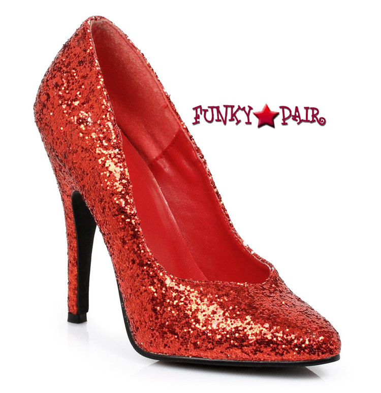 511-Glitter, 5 Inch High Heel Red Glitter Shoes Made by ELLIE Shoes