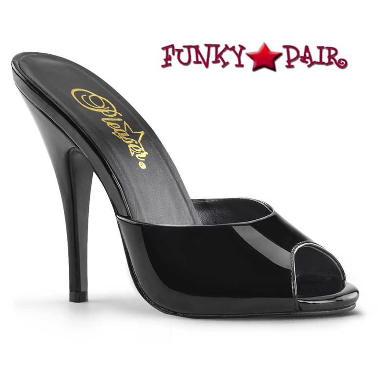 Pleaser | Seduce-101, Peep Toe Mule Color Black Patent