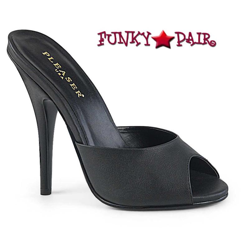 Seduce-101, Peep Toe Mule Color Black Faux Leather