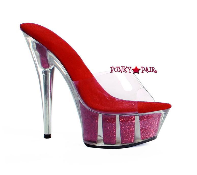 """Red 609-Glitter 6"""" Platform Glitter Sandal"""