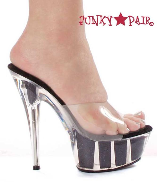 """Black 609-Glitter 6"""" Platform Glitter Sandal"""