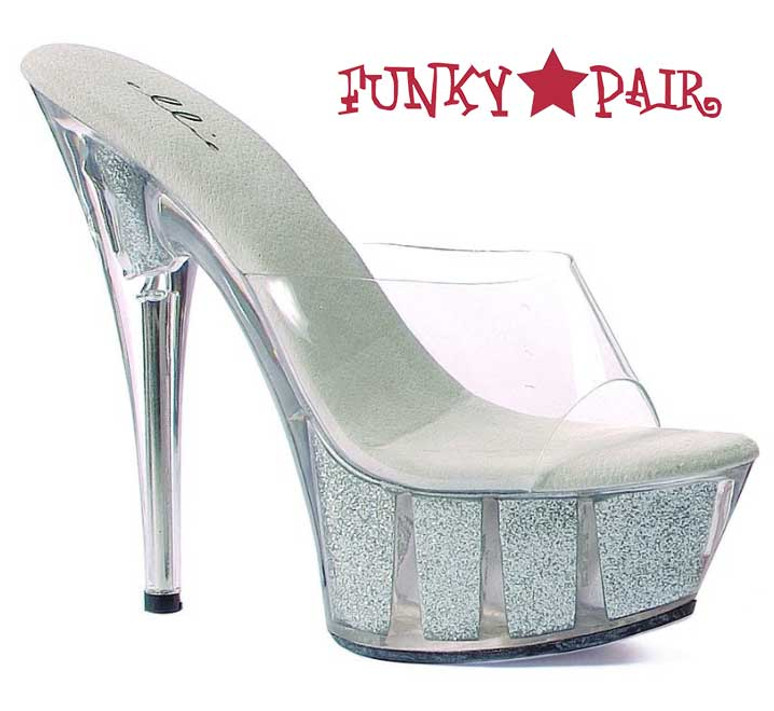 """Silver 609-Glitter 6"""" Platform Glitter Sandal"""