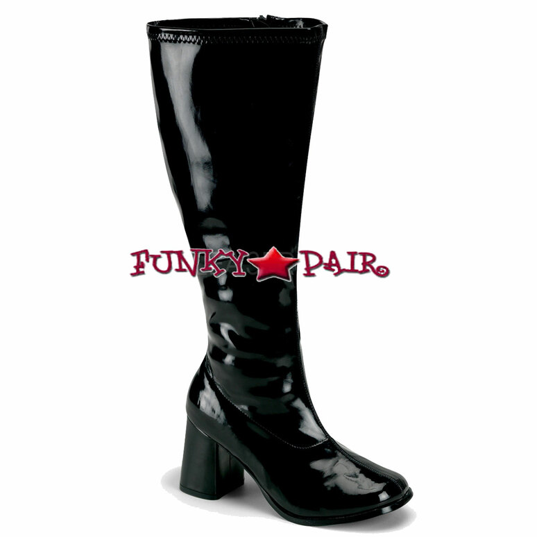 Black GoGO-300X, Wide Width and Wide Calf GoGo Boots   Pleaser
