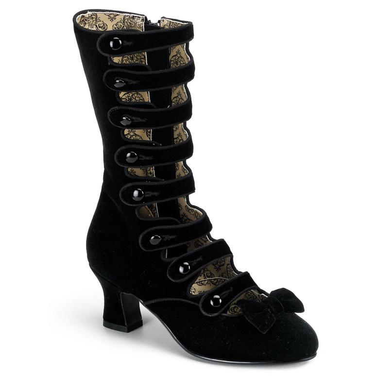 WHIMSEY-115, Kitten Heel Multi Straps Black Velvet Calf Boot by Bordello Shoes