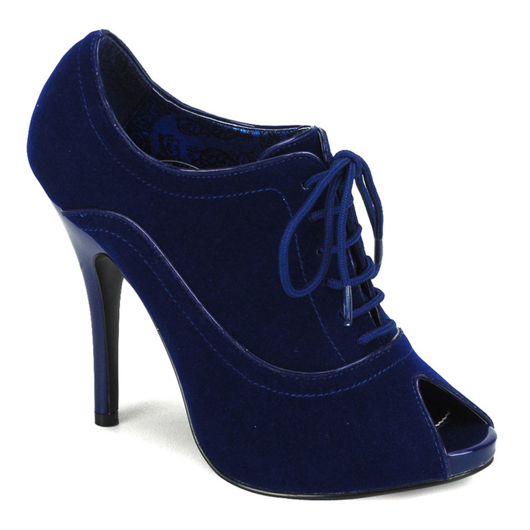 WINK-01, Peep Toe Blue Velvet Oxford Boot Bordello Shoes