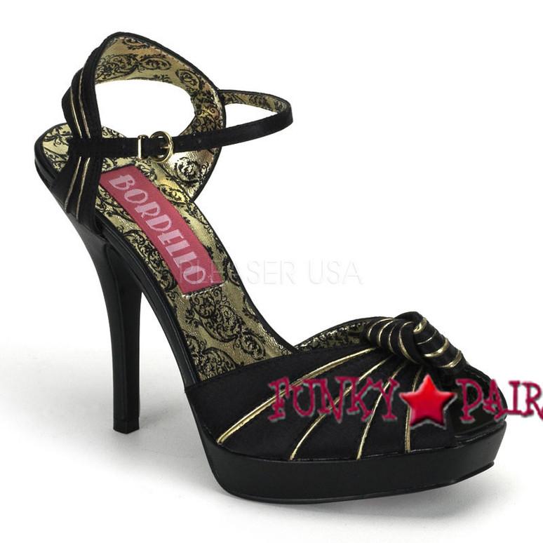 Bordello | PREEN-16, Peep Toe Knotted Platform Sandal color black