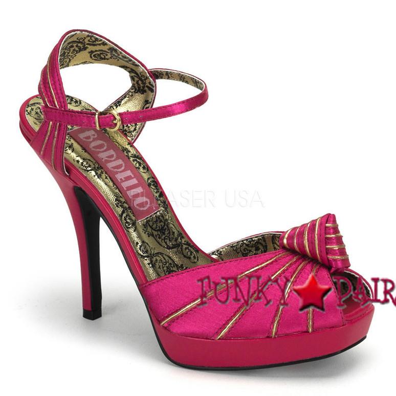 PREEN-16, Peep Toe Knotted Platform Sandal Made By Bordello color fuchsia