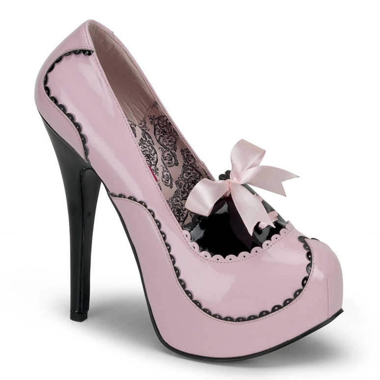 TEEZE-01, 5.75 Inch Stiletto High Heel Two Tone Pump color baby pink