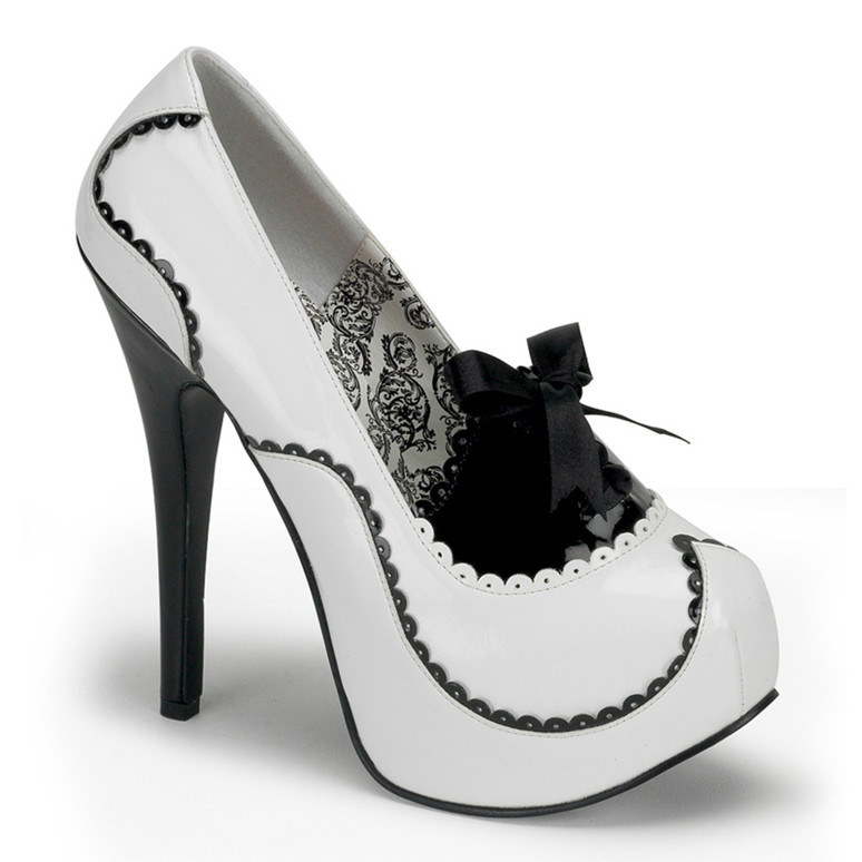TEEZE-01, 5.75 Inch Stiletto High Heel Two Tone Pump color white