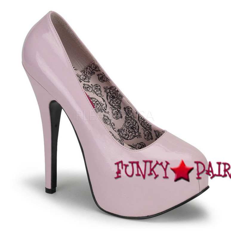TEEZE-06, 5.75 Inch High Heel with 1.75 Inch Platform Bordello Shoes color baby pink