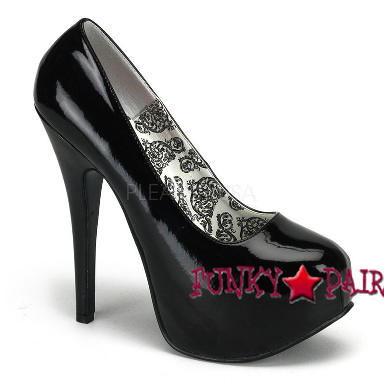 TEEZE-06, 5.75 Inch High Heel with 1.75 Inch Platform Bordello Shoes color black patent