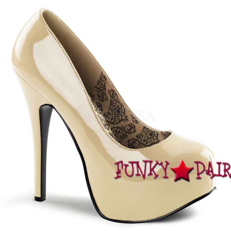 TEEZE-06, 5.75 Inch High Heel with 1.75 Inch Platform Bordello Shoes color cream patent