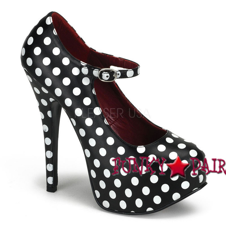 TEEZE-08, 5.75 Inch Stiletto High Heel with 1.75 Inch Polka Dot Mary Jane Platform Pump color black /white podot