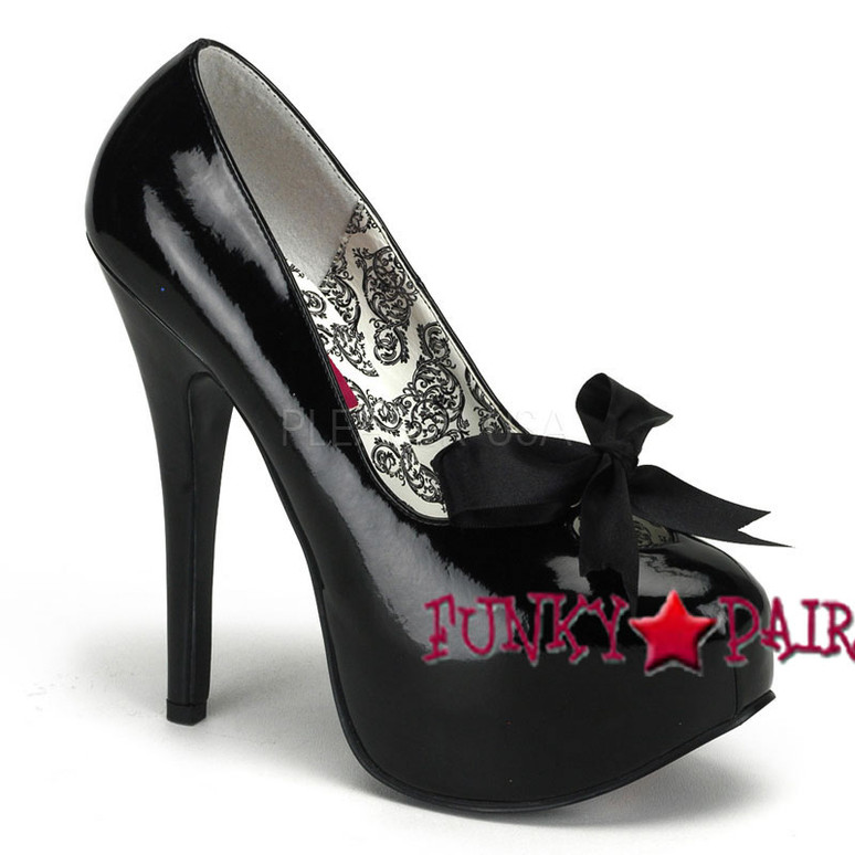 TEEZE-12, 5.75 Inch Black Stiletto High Heel with Ribbon Bow Pump