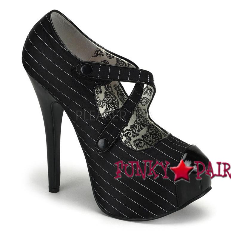 Bordello Shoes   TEEZE-23, Criss Cross Velcro Pump color black pinstripe