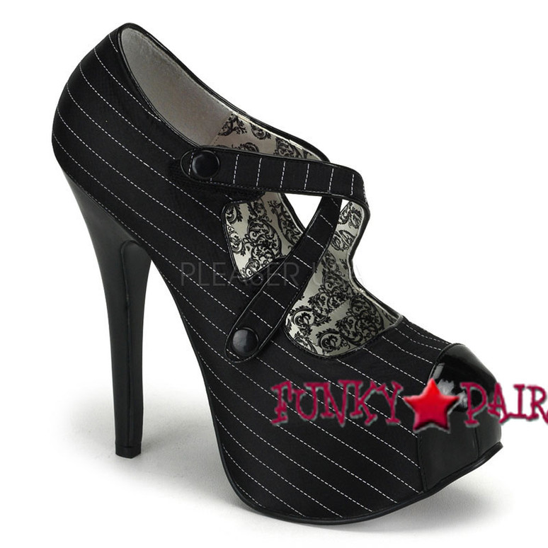 Bordello Shoes | TEEZE-23, Criss Cross Velcro Pump color black pinstripe