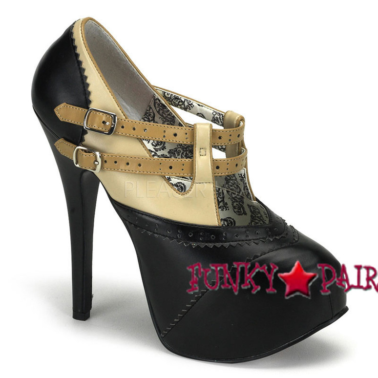 TEEZE-24, 5.75 Inch Stiletto High Heel Double Strap Pump