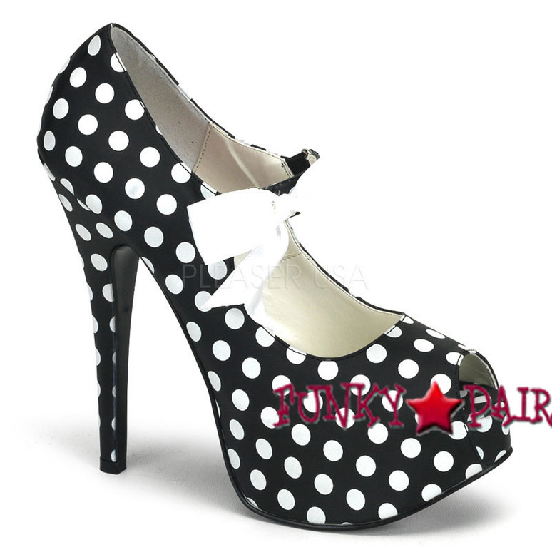 Bordello Shoes TEEZE-25, Peep Toe Pump with Ribbon Bow
