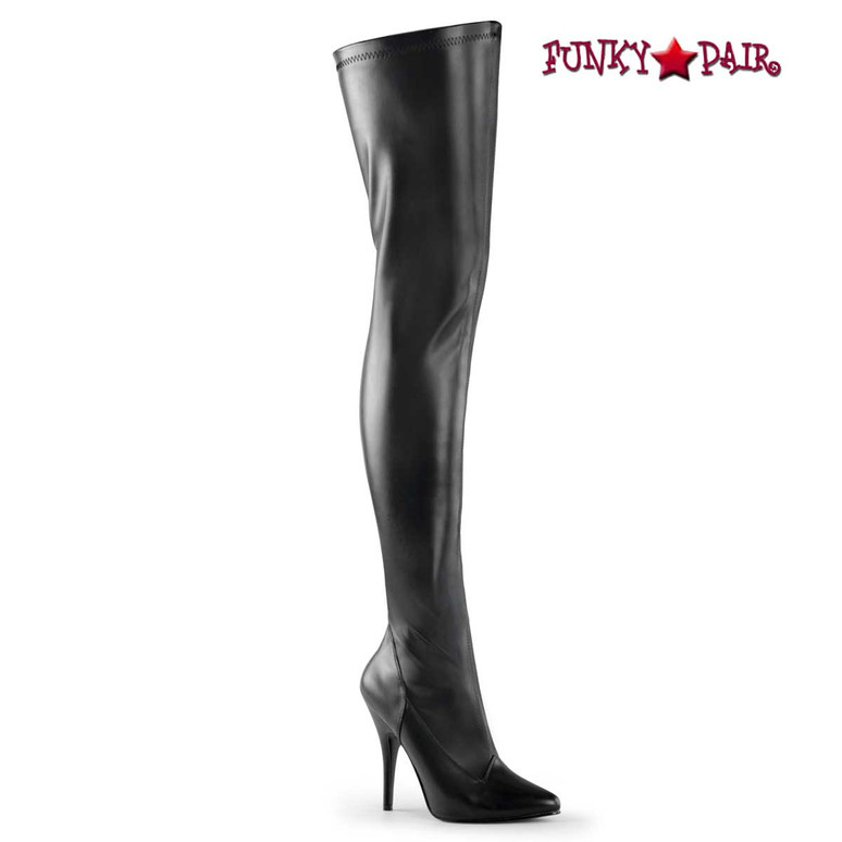 Seduce-3000, 5 Inch Black Faux Leather Stretch Thigh-high boots by Pleaser