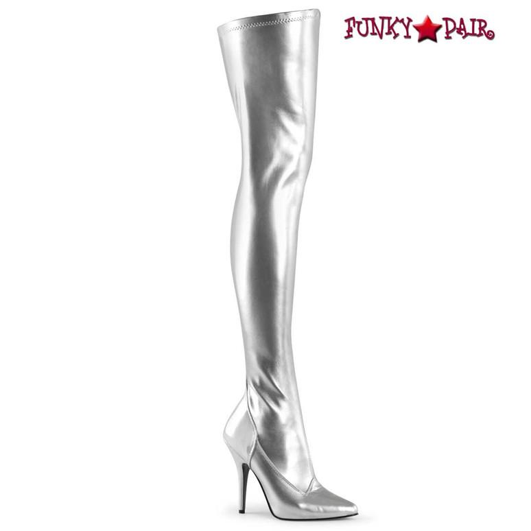 Seduce-3000, 5 Inch Silver Stretch Thigh-high boots by Pleaser