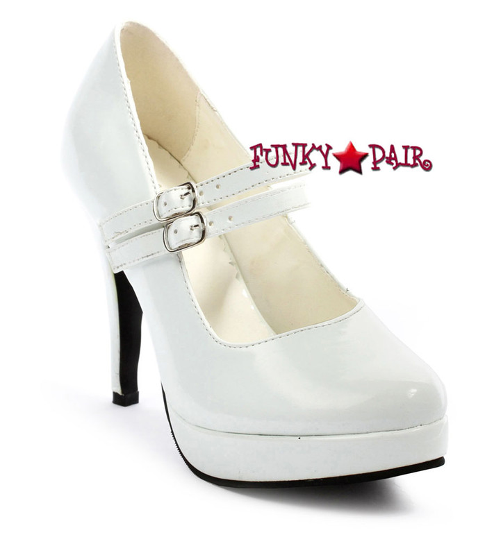 "Ellie Shoes | 421-Jane 4"" Mary Jane Pump White"