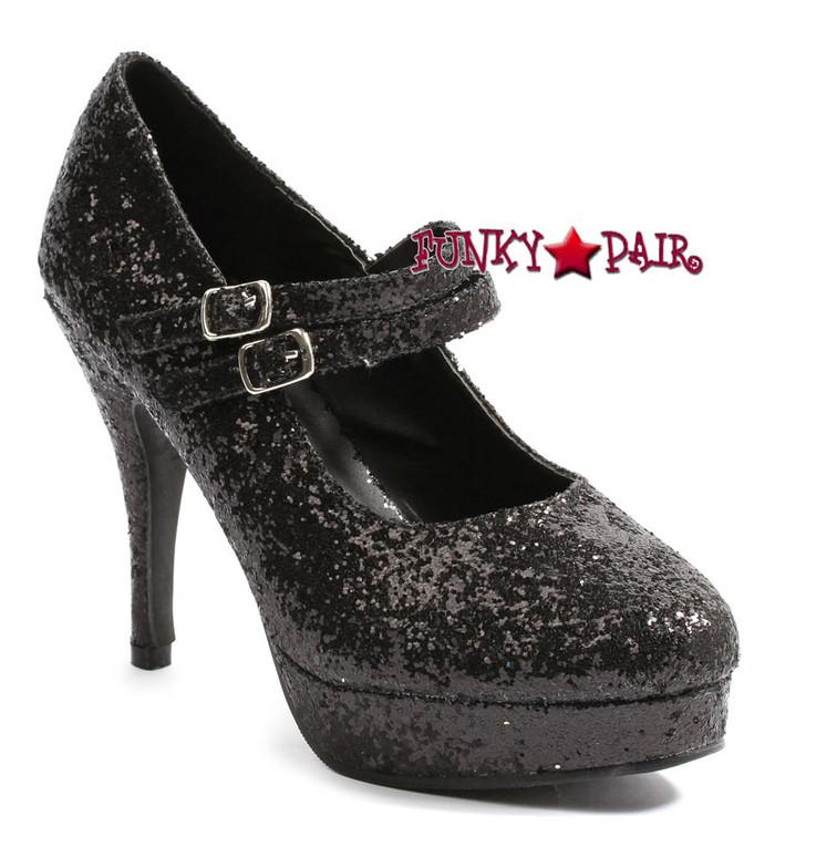"4"" Mary Jane Glitter Pump | Ellie Shoes 421-Jane-G Black"