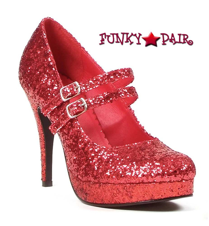 """Red 4"""" Mary Jane Glitter Pump 