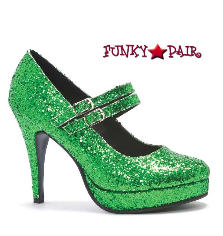"Green 4"" Mary Jane Glitter Pump | Ellie Shoes 421-Jane-G"