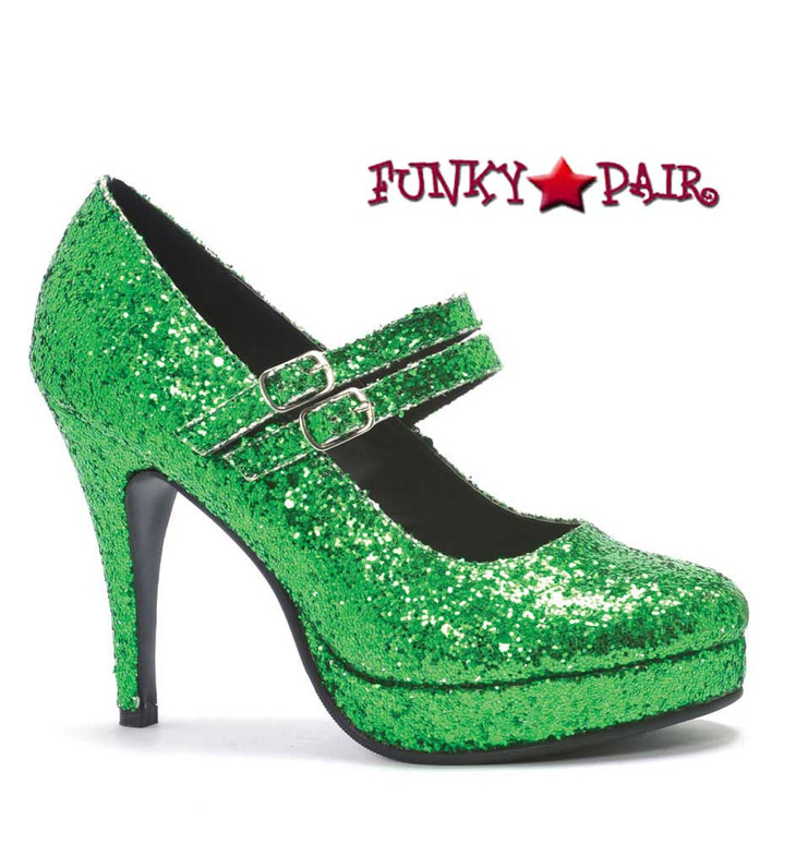 "Green 4"" Mary Jane Glitter Pump 