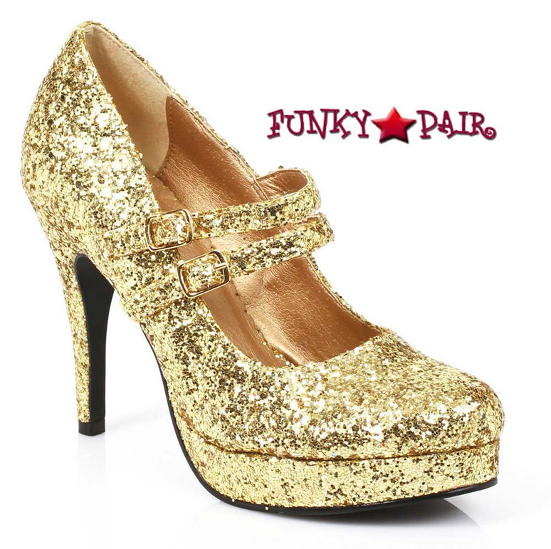 "Gold 4"" Mary Jane Glitter Pump Ellie Shoes 421-Jane-G"