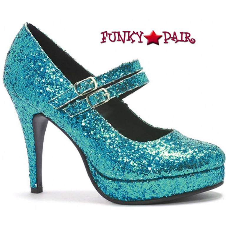 "Ellie Shoes 421-Jane-G 4"" Mary Jane Glitter Pump 