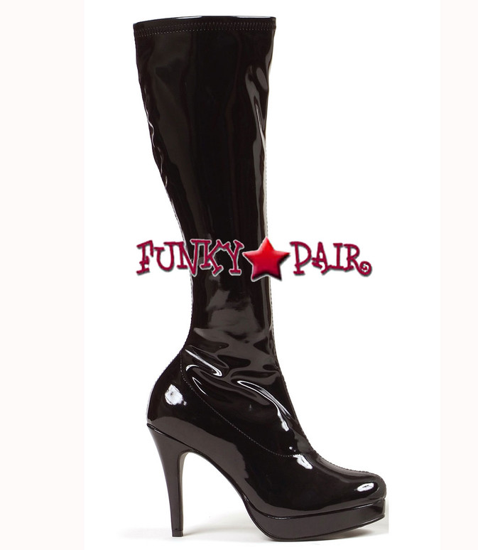 Black 4 Inch Stiletto Heel Knee High Boots * 421-Groove