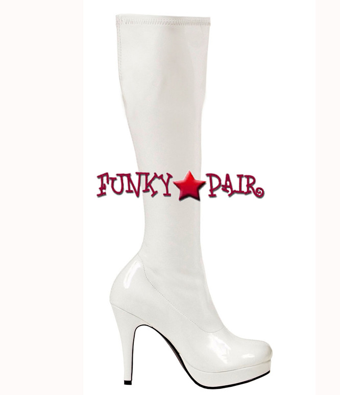 White 4 Inch Stiletto Heel Knee High Boots * 421-Groove