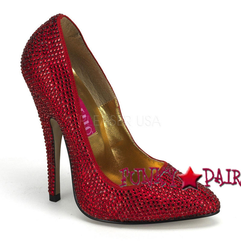 Scandal-620R, 5.5 Inch High Heel with Rhinestones Pump Red