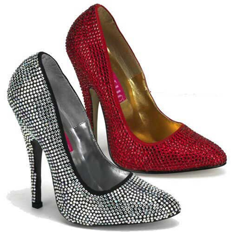 Scandal-620R, 5.5 Inch High Heel with Rhinestones Pump by Bordello Shoes