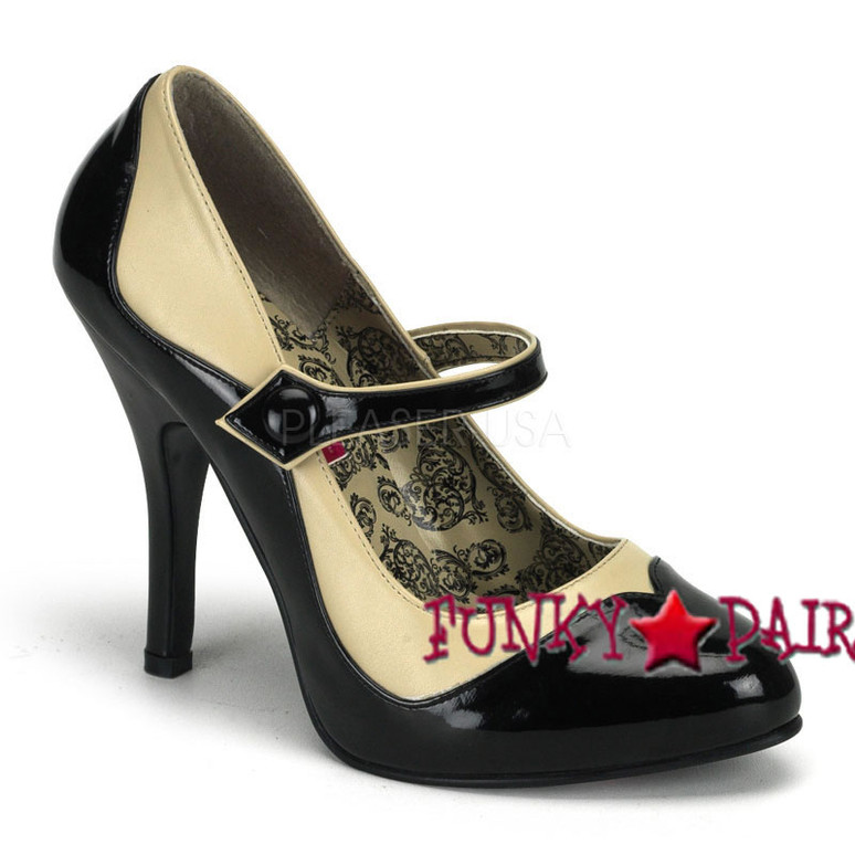 Bordello| Tempt-07, 4.5 Inch High Heel Two Tone Maryjane Pump color creeam/black