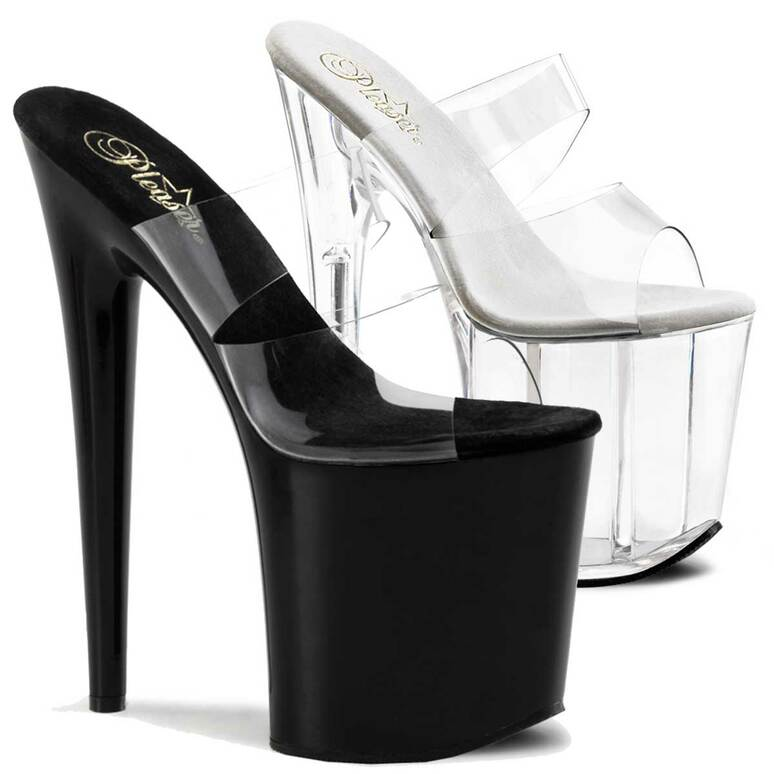 """Flamingo-802, 8"""" Stripper Shoes Platform Slide with Double Band by Pleaser"""